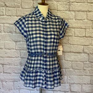 Free People Blue/white gingham checked top size M